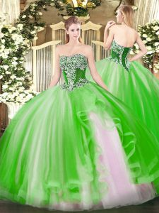 Sleeveless Floor Length Beading and Ruffles Lace Up Vestidos de Quinceanera