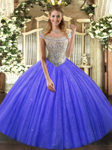 Dazzling Ball Gowns Vestidos de Quinceanera Blue Off The Shoulder Tulle and Sequined Sleeveless Floor Length Lace Up