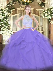 Tulle Scoop Sleeveless Zipper Lace and Ruffles 15 Quinceanera Dress in Lavender