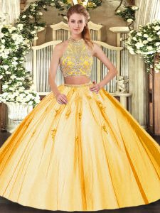 Gold Tulle Criss Cross Ball Gown Prom Dress Sleeveless Floor Length Beading and Appliques