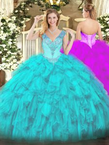 Cute Aqua Blue Lace Up V-neck Beading and Ruffles Vestidos de Quinceanera Organza Sleeveless