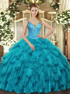 V-neck Sleeveless Quinceanera Gown Floor Length Beading and Ruffles Teal Organza