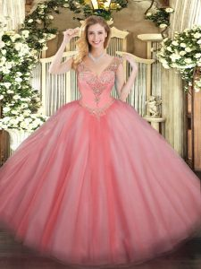 Deluxe Watermelon Red Sleeveless Floor Length Beading Lace Up Quince Ball Gowns
