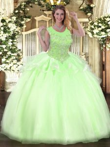 Flirting Organza Sleeveless Floor Length Ball Gown Prom Dress and Beading