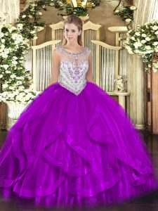 Sleeveless Tulle Floor Length Zipper Quince Ball Gowns in Eggplant Purple with Beading and Ruffles