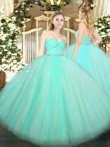Exquisite Apple Green Ball Gowns Tulle Sweetheart Sleeveless Beading and Lace Floor Length Zipper Vestidos de Quinceanera