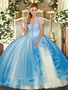 Baby Blue Ball Gowns Appliques and Ruffles Quince Ball Gowns Lace Up Tulle Sleeveless Floor Length