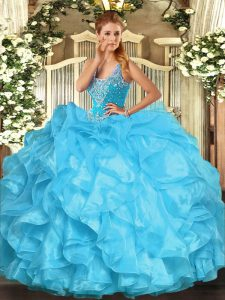 Straps Sleeveless Organza Quinceanera Gown Beading and Ruffles Lace Up