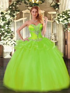 Sleeveless Floor Length Beading Lace Up Quinceanera Gowns