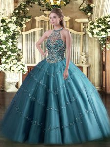 Great Halter Top Sleeveless Lace Up Quinceanera Dress Teal Tulle