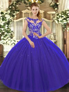 On Sale Cap Sleeves Floor Length Beading and Appliques Lace Up 15th Birthday Dress with Royal Blue