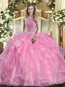 Organza High-neck Sleeveless Lace Up Beading and Ruffles Quinceanera Gowns in Rose Pink