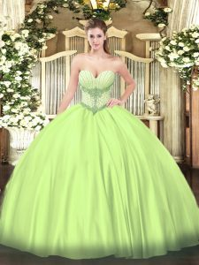 Sweetheart Sleeveless Ball Gown Prom Dress Floor Length Beading Yellow Green Satin