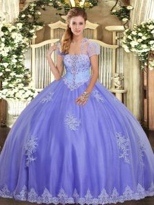 Artistic Floor Length Lavender Sweet 16 Dresses Tulle Sleeveless Appliques