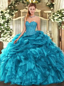 Teal 15th Birthday Dress Military Ball and Sweet 16 and Quinceanera with Beading and Ruffles and Pick Ups Sweetheart Sleeveless Lace Up