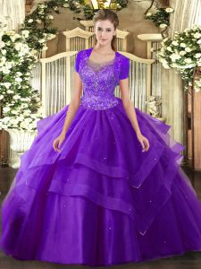 Scoop Sleeveless Clasp Handle 15 Quinceanera Dress Purple Tulle