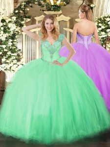 Discount Sleeveless Lace Up Floor Length Beading Quince Ball Gowns