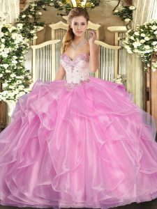 Simple Rose Pink Lace Up Sweetheart Beading and Ruffles Sweet 16 Dresses Organza Sleeveless