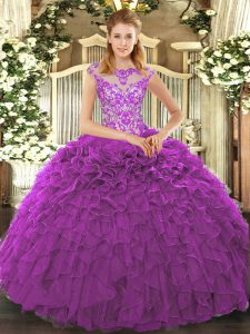 Excellent Floor Length Lace Up Quince Ball Gowns Eggplant Purple for Sweet 16 and Quinceanera with Beading and Appliques and Ruffles
