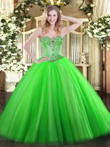 Sexy Sleeveless Tulle Lace Up Sweet 16 Dress for Sweet 16 and Quinceanera