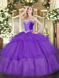 Artistic Sweetheart Sleeveless Lace Up Sweet 16 Dresses Lavender Tulle