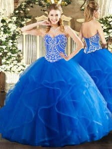 Best Selling Floor Length Lace Up Quinceanera Dresses Blue for Military Ball and Sweet 16 and Quinceanera with Beading and Ruffles