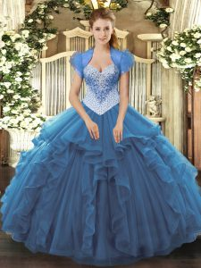 High Class Ball Gowns Quinceanera Dress Blue Sweetheart Tulle Sleeveless Floor Length Lace Up