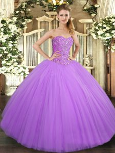 Graceful Lilac Sleeveless Beading Floor Length Sweet 16 Dresses