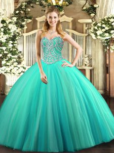 Dazzling Aqua Blue Sweetheart Neckline Beading Quinceanera Dresses Sleeveless Lace Up
