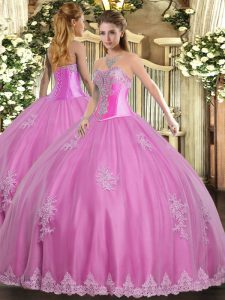 Rose Pink Sleeveless Floor Length Beading and Appliques Lace Up 15th Birthday Dress