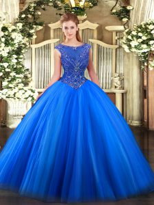 Royal Blue Ball Gowns Tulle Scoop Sleeveless Beading and Appliques Floor Length Zipper 15th Birthday Dress