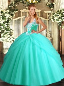 Vintage Tulle Straps Sleeveless Lace Up Beading and Pick Ups Sweet 16 Quinceanera Dress in Apple Green