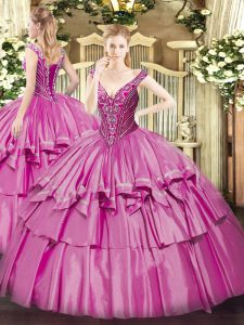 Dramatic Lilac Lace Up Quinceanera Gown Beading and Ruffled Layers Sleeveless Floor Length
