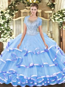Designer Scoop Sleeveless Sweet 16 Dress Floor Length Beading and Ruffled Layers Aqua Blue Tulle