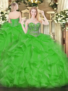 Beading and Ruffles Sweet 16 Dresses Green Lace Up Sleeveless Floor Length