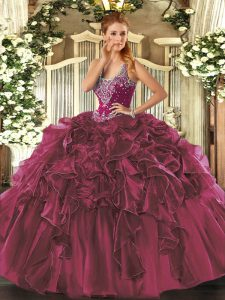 Burgundy Ball Gowns Organza Straps Sleeveless Beading and Ruffles Floor Length Lace Up Sweet 16 Quinceanera Dress