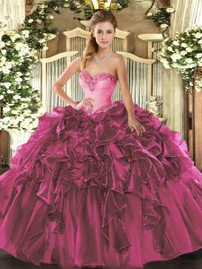 Ball Gowns Sweet 16 Dresses Fuchsia Sweetheart Organza Sleeveless Floor Length Lace Up