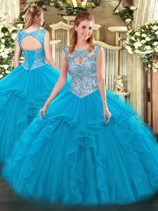 Dazzling Floor Length Blue 15 Quinceanera Dress Tulle Sleeveless Beading and Ruffles