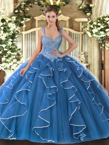 Artistic V-neck Sleeveless Lace Up 15th Birthday Dress Blue Tulle