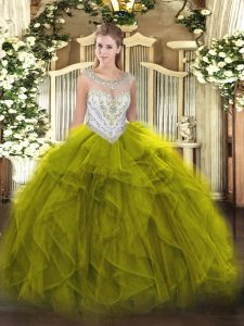 Beading and Ruffles Quinceanera Dresses Olive Green Zipper Sleeveless Floor Length