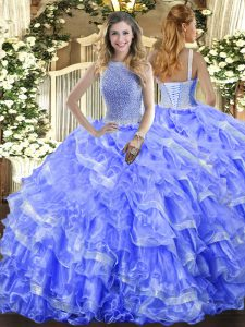 Flare Blue Organza Lace Up High-neck Sleeveless Floor Length Sweet 16 Dresses Beading and Ruffled Layers