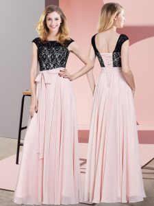Attractive Baby Pink Empire Chiffon Scoop Sleeveless Lace and Belt Floor Length Lace Up Prom Dresses