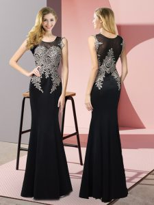Eye-catching Appliques Evening Dress Black Side Zipper Sleeveless Floor Length