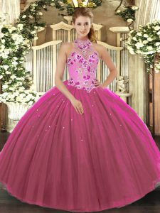 Embroidery 15th Birthday Dress Fuchsia Lace Up Sleeveless Floor Length