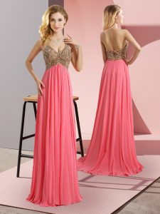 Watermelon Red Chiffon Zipper Spaghetti Straps Sleeveless Floor Length Evening Dress Sweep Train Beading