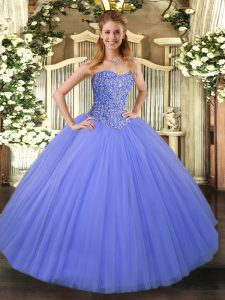 Wonderful Blue Tulle Lace Up Sweet 16 Dresses Sleeveless Floor Length Beading