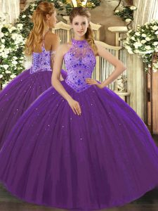 Purple Lace Up 15 Quinceanera Dress Beading and Appliques and Embroidery Sleeveless Floor Length