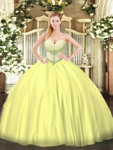 Charming Satin Sweetheart Sleeveless Lace Up Beading Quinceanera Dresses in Yellow