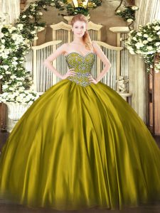 Fancy Floor Length Ball Gowns Sleeveless Olive Green Quinceanera Gown Lace Up