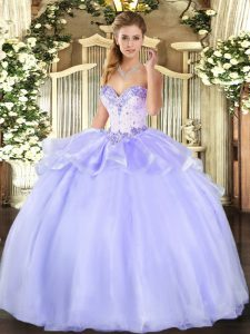 Floor Length Lace Up Quince Ball Gowns Lavender for Military Ball and Sweet 16 and Quinceanera with Beading